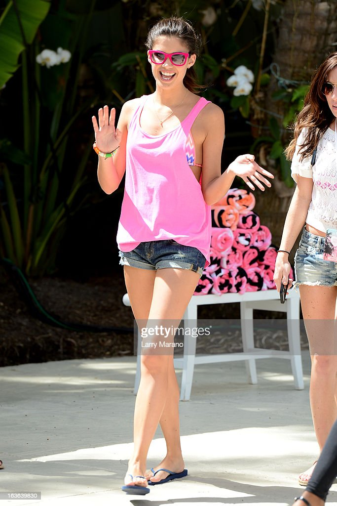 Sara Sampaio arrives at Victoria's Secret PINK Ultimate Spring Break Dance Party in Miami at Raleigh Hotel on March 13, 2013 in Miami Beach, Florida.
