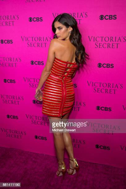 Sara Sampaio attends the 2017 Victoria's Secret Fashion Show viewing party pink carpet at Spring Studios on November 28 2017 in New York City