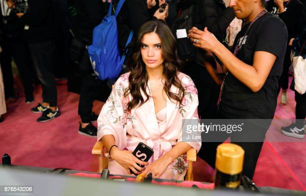 Sara Sampaio does hair and makeup backstage for Victoria's Secret Fashion show on November 20 2017 in Shanghai China