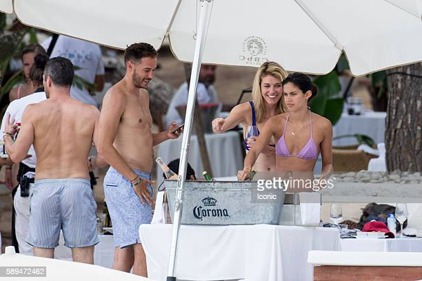 Sara Sampaio enjoys a lunch with boyfriend Oliver Riplay and pals at a beach club on August 13 2016 in Ibiza Spain