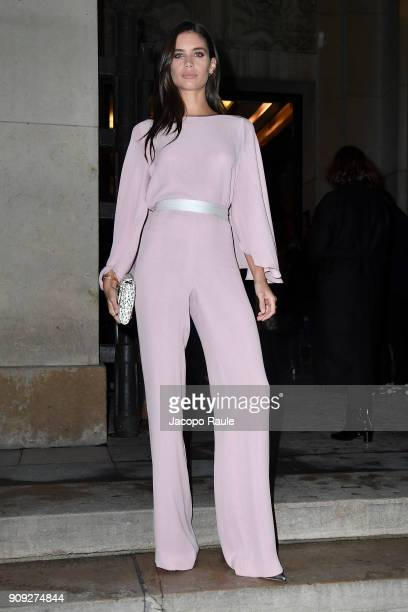 Sara Sampaio is seen arriving at Armani Prive Fashion show during Paris Fashion Week Haute Couture Spring/Summer 2018 on January 23 2018 in Paris...