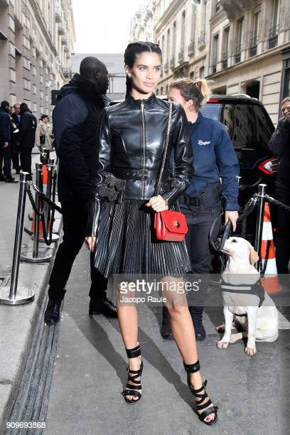 Sara Sampaio is seen arriving at Elie Saab fashion show during Paris Fashion Week Haute Couture Spring/Summer 2018 on January 24 2018 in Paris France
