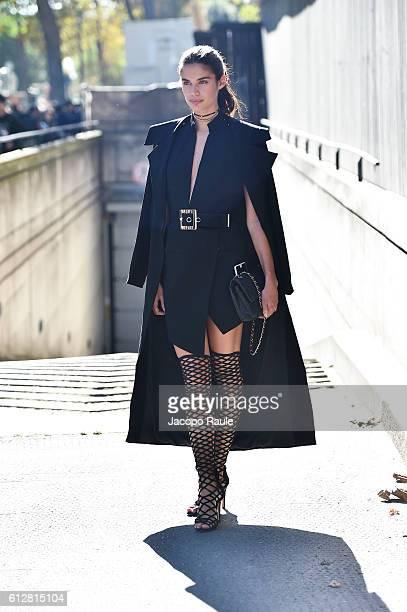 Sara Sampaio is seen arriving at Miu Miu Fashion show during Paris Fashion Week Spring/Summer 2017 on October 5 2016 in Paris France