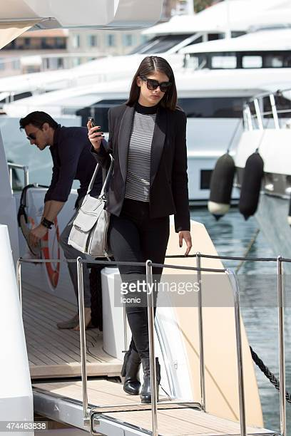 Sara Sampaio is seen leaving a yacht during The 68th Annual Cannes Film Festival on May 23 2015 in Cannes France
