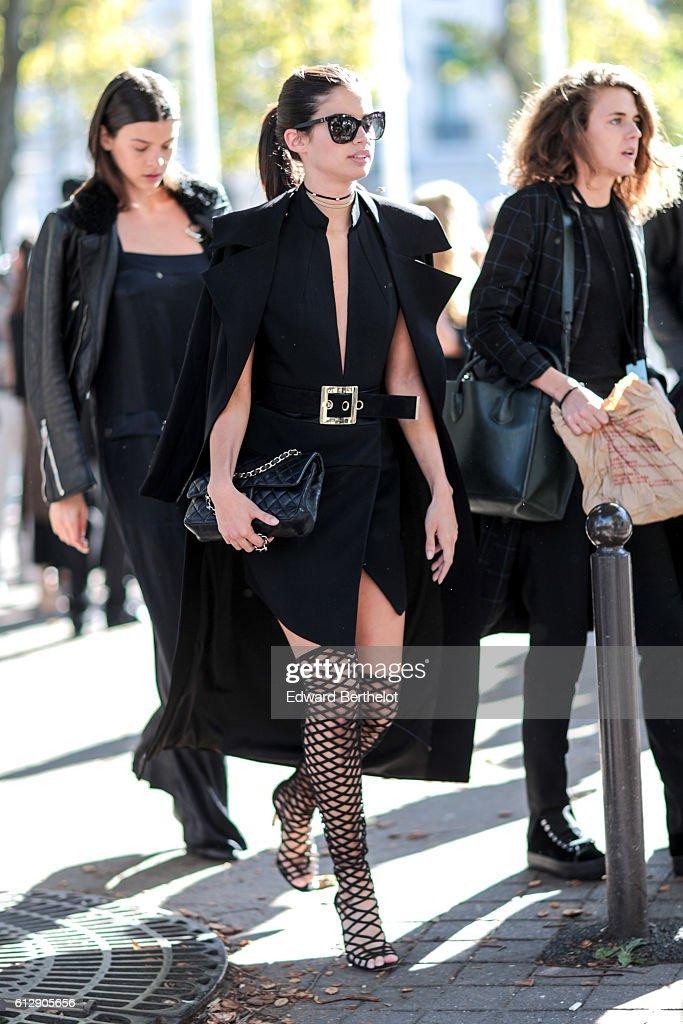 Sara Sampaio is seen, outside the Miu Miu show, during Paris Fashion Week Spring Summer 2017, on October 5, 2016 in Paris, France.
