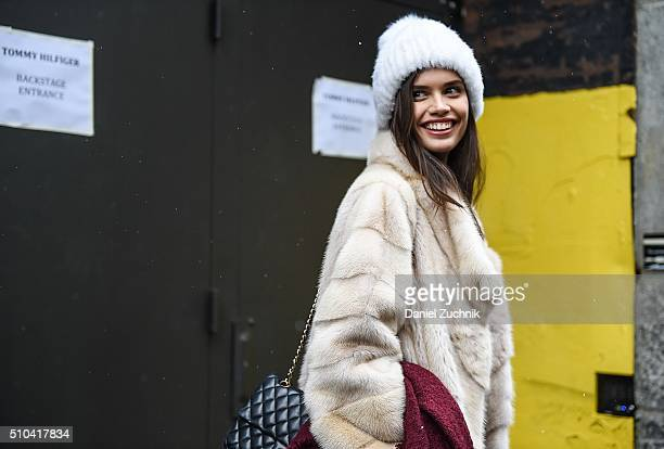 Sara Sampaio is seen outside the Tommy Hilfiger show during New York Fashion Week: Women's Fall/Winter 2016 on February 15, 2016 in New York City.