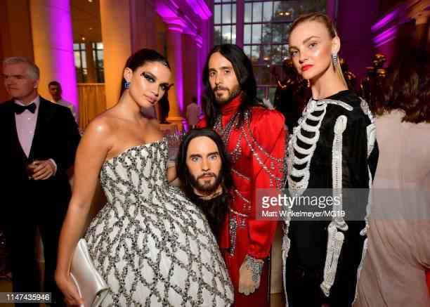 Sara Sampaio Jared Leto and Caroline Trentini attend The 2019 Met Gala Celebrating Camp Notes on Fashion at Metropolitan Museum of Art on May 06 2019...