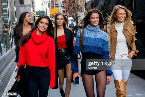 Sara Sampaio Josephine Skriver Taylor Hill and Romee Strijd attend rehearsals for the 2018 Victoria's Secret Fashion Show in Midtown on November 7...