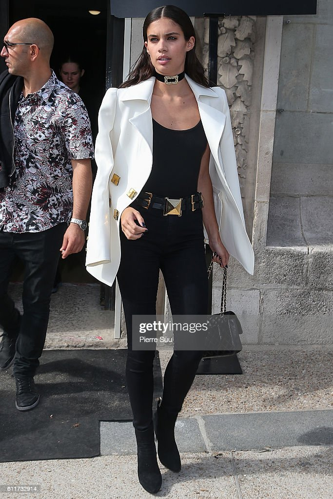 Sara Sampaio leaves the Mugler show as part of the Paris Fashion Week Womenswear Spring/Summer 2017 on October 1, 2016 in Paris, France.