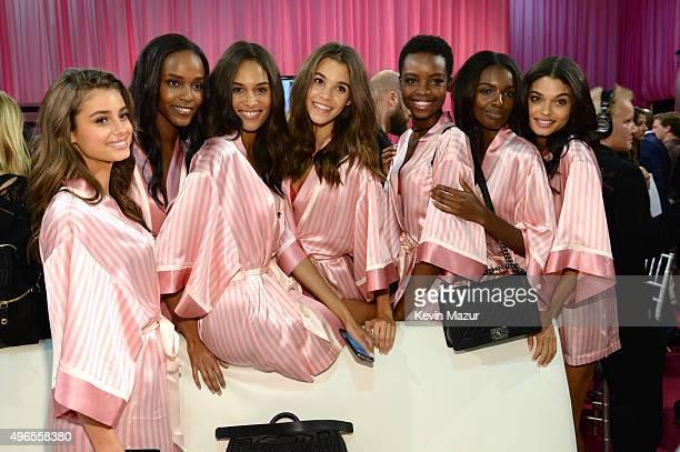 Sara Sampaio Leila Nda Cindy Bruna Taylor Hill Maria Borges Leomie Anderson and Daniela Braga are seen backstage before the 2015 Victoria's Secret...