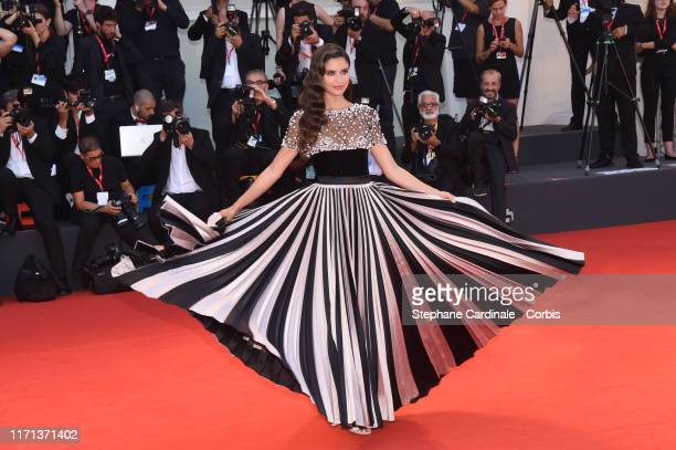 """Sara Sampaio walks the red carpet ahead of the """"Joker"""" screening during the 76th Venice Film Festival at Sala Grande on August 31, 2019 in Venice,..."""