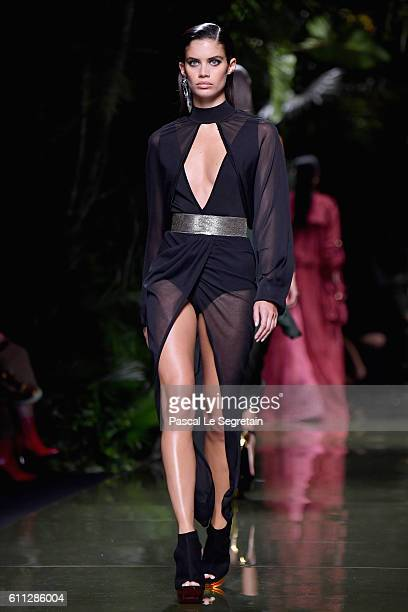 Sara Sampaio walks the runway during the Balmain show as part of the Paris Fashion Week Womenswear Spring/Summer 2017 on September 29 2016 in Paris...