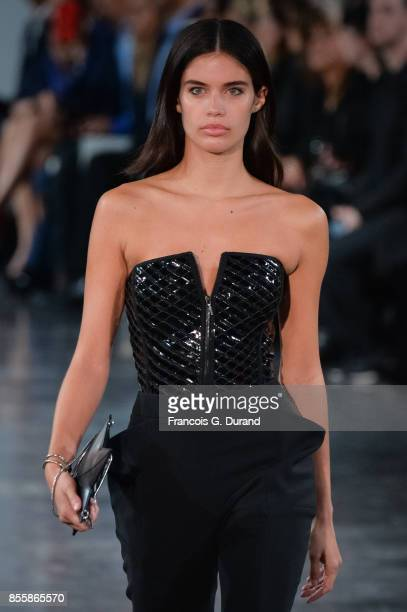 Sara Sampaio walks the runway during the Mugler show as part of the Paris Fashion Week Womenswear Spring/Summer 2018 on September 30 2017 in Paris...
