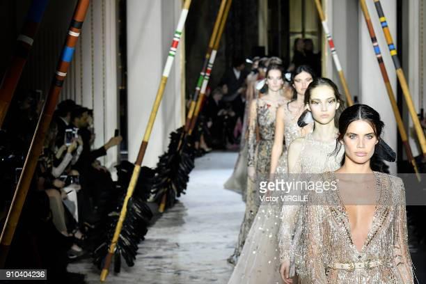 Sara Sampaio walks the runway during the Zuhair Murad Haute Couture Spring Summer 2018 show as part of Paris Fashion Week on January 24 2018 in Paris...