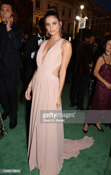 Sara Sampaio, wearing Alberta Ferretti, attends The Green Carpet Fashion Awards Italia 2018 at Teatro Alla Scala on September 23, 2018 in Milan,...