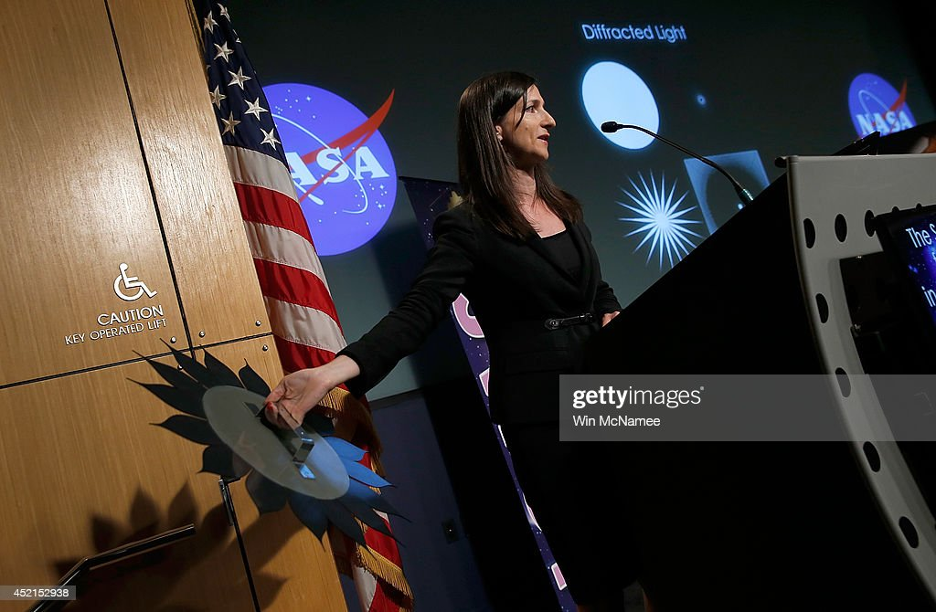 Sara Seager, professor of planetary science and physics at the Massachusetts Institute of Technology, speaks at a press conference discussing 'the scientific and technological roadmap that will lead to the discovery of potentially habitable worlds among the stars' July 14, 2014 at NASA headquarters in Washington, DC. Most prominent among the methods NASA will search the universe for habitable exoplanets will be the deployment of the James Webb Space Telescope, with a mirror of 21 feet, scheduled to be launched in 2018.