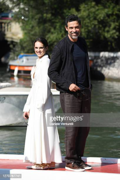 Sara Serraiocco and Alessandro Gassmann are seen arriving at the Excelsior during the 77th Venice Film Festival on September 05, 2020 in Venice,...
