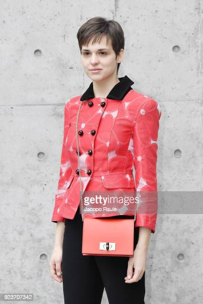 Sara Serraiocco attends the Giorgio Armani show during Milan Fashion Week Fall/Winter 2018/19 on February 24 2018 in Milan Italy