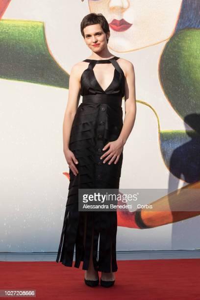 "Sara Serraiocco walks the red carpet ahead of the ""L'Annee Derniere a Marienbad"" screening during the 75th Venice Film Festival at Sala Giardino on..."