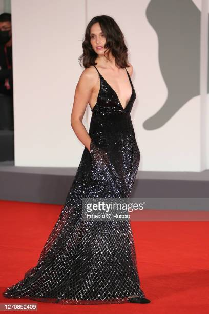 """Sara Serraiocco walks the red carpet ahead of the movie """"Mandibules"""" at the 77th Venice Film Festival on September 05, 2020 in Venice, Italy."""