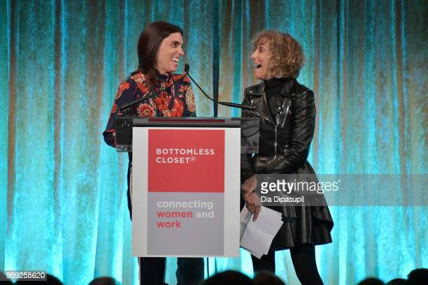 Sara Slocum and Sheila Lambert speak on stage at the Bottomless Closet's 19th Annual Spring Luncheon on May 16 2018 in New York City