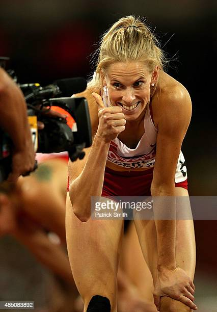 Sara Slott Petersen of Denmark prepares to compete in the Women's 400 metres hurdles semi-final during day three of the 15th IAAF World Athletics...