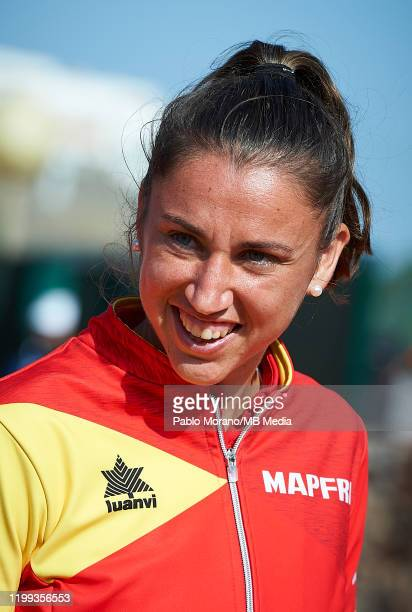 Sara Sorribes of Spain looks on during the Fed Cup por BNP Paribas qualifiers second round between Spain and Japan at Centro de Tenis La Manga Club...