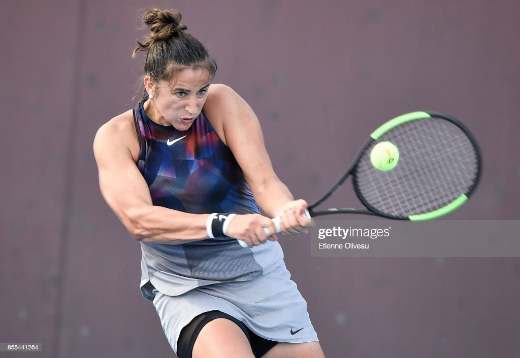 Sara Sorribes Tormo of Spain hits a backhand during the Women's Singles qualification match against Kristie Ahn of the United States at the 2017 China Open at the China National Tennis Centre on September 29, 2017 in Beijing, China.