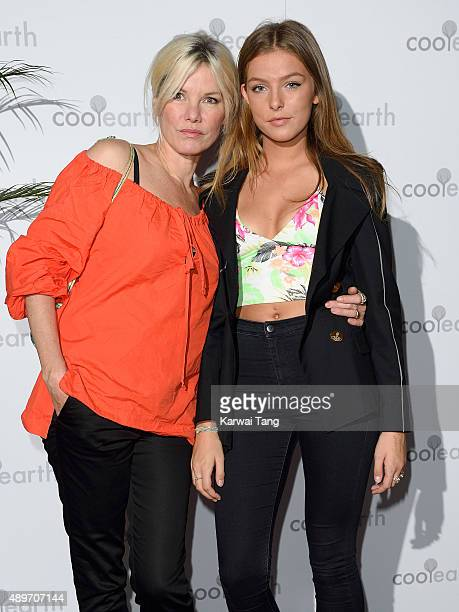 Sara Stockbridge and daughter Lelu Rolland attend the launch party for Cool Earth at The Conservatory Barbican Centre on September 23 2015 in London...