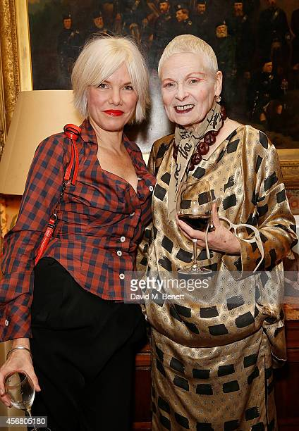 Sara Stockbridge and Vivienne Westwood at Mark's Club for the Vivienne Westwood Autobiography Launch on October 7 2014 in London England