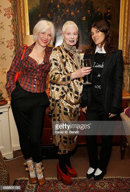 Sara Stockbridge Vivienne Westwood and Bella Freud at Mark's Club for the Vivienne Westwood Autobiography Launch on October 7 2014 in London England