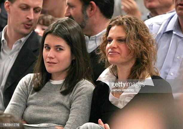 Sara Switzer and Sandra Bernhard during Celebrities Attend Atlanta Hawks vs New York Knicks Game at Madison Square Garden in New York City New York...