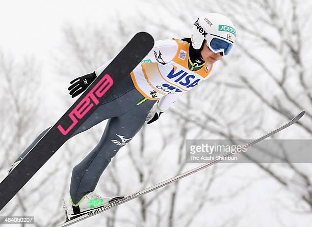 Sara Takanashi competes in the Normal Hill Indivisual at FIS Women's Ski Jumping World Cup Zao at Zao Jump Stadium on January 19 2014 in Zao Japan