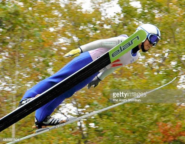 Sara Takanashi competes in the Women's competition during the Ito Cup Summer Final Okurayama Ski Jumping Championships at Okurayama Jump Stadium on...
