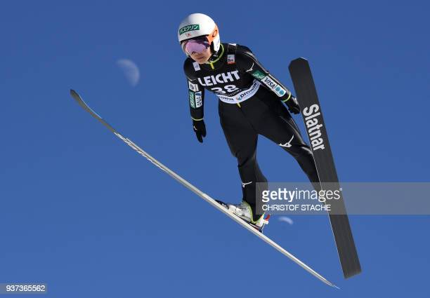 Sara Takanashi from Japan competes during her trial jump of the ski jumping World Cup Ladies competition in Oberstdorf, southern Germany, on March...