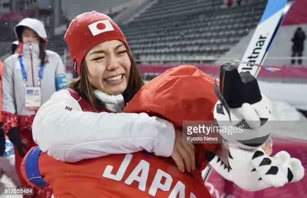 Sara Takanashi of Japan bursts into tears after winning the bronze medal in the women's normal hill individual ski jumping at the Pyeongchang Winter...