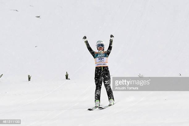 Sara Takanashi of Japan celebrates after the normal hill individual final round during the FIS Women's Ski Jumping World Cup Sapporo at Miyanomori...
