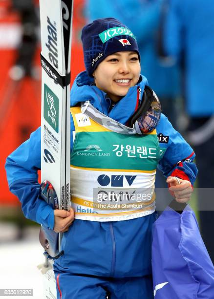 Sara Takanashi of Japan celebrates her 53rd World Cup win after the Ladies Normal Hill during day two of the FIS Ski Jumping World Cup PyeongChang at...
