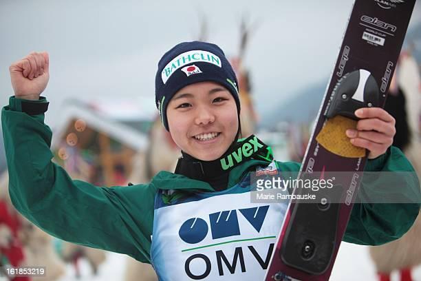 Sara Takanashi of Japan celebrates victory during the FIS Women's Ski Jumping event on February 17 2013 in Ljubno ob Savinji Slovenia
