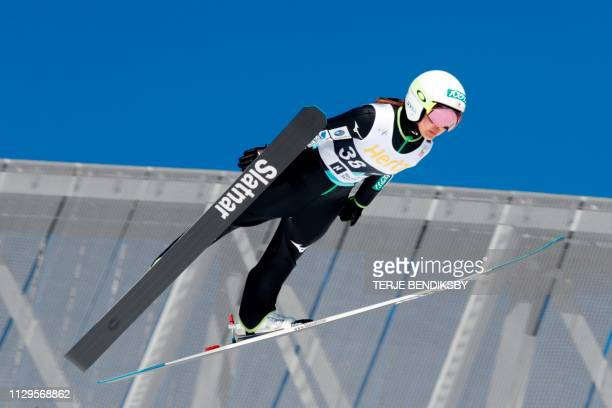 Sara Takanashi of Japan competes during FIS World Cup Ski Jumping Ladies´ HS134 competition in Holmenkollen Oslo on March 10 2019 / Norway OUT