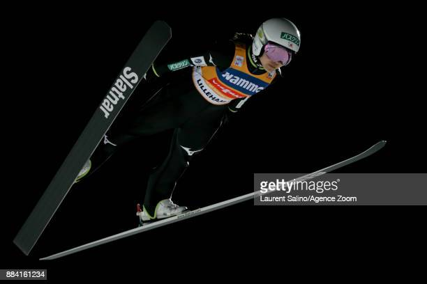 Sara Takanashi of Japan competes during the FIS Nordic World Cup Women's Ski Jumping HS100 on December 1 2017 in Lillehammer Norway