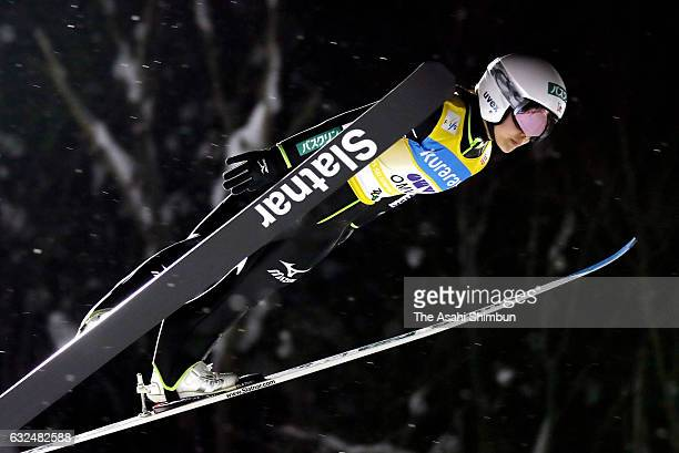 Sara Takanashi of Japan competes in her first jump of the HS 106 Normal Hill during day two of the FIS Women's Ski Jumping World Cup at Kuraray Zao...