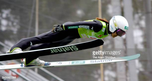 Sara Takanashi of Japan competes in the first jump during day one of the FIS Ski Jumping Grand Prix on September 9 2017 in Chaikovsky Russia