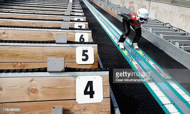 Sara Takanashi of Japan competes in the FIS Ski Jumping Grand Prix Ladies Training Session on August 14 2013 in Courchevel France