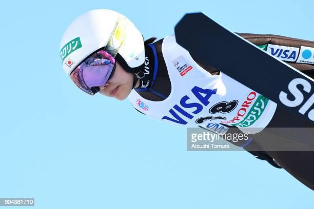 Sara Takanashi of Japan competes in the Ladies normal hill individual during day one of the FIS Ski Jumping Women's World cup at Miyanomori Ski Jump...