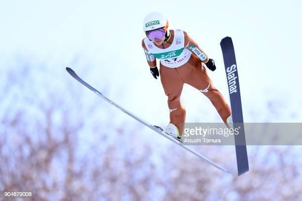 Sara Takanashi of Japan competes in the Ladies normal hill individual during day two of the FIS Ski Jumping Women's World cup at Miyanomori Ski Jump...