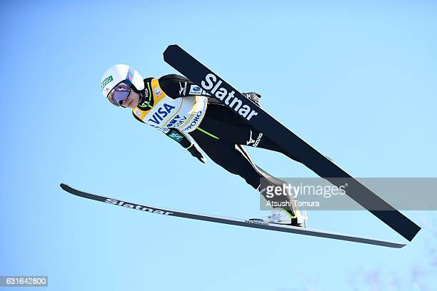 Sara Takanashi of Japan competes in the Normal hill Individual during the FIS Women's Ski Jumping World Cup Sapporo at the Miyanomori Ski jump...