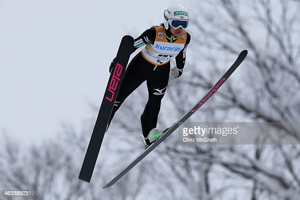 Sara Takanashi of Japan competes in the Normal Hill Indivudual 1st round during the FIS Women's Ski Jumping World Cup Zao at Zao Jump Stadium on...