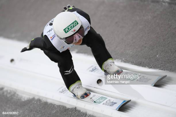 Sara Takanashi of Japan competes in the Women's Ski Jumping HS100 qualification rounds during the FIS Nordic World Ski Championships on February 23...