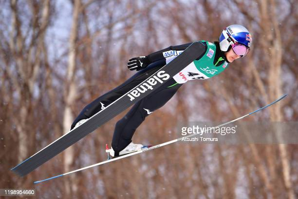 Sara Takanashi of Japan competes on day two of the FIS Ski Jumping Women's World Cup Sapporo at Okurayama Jump Stadium on January 12, 2020 in...